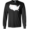 Image of American Map Shirt Ice Hockey Rink Novelty Long Sleeve Tee