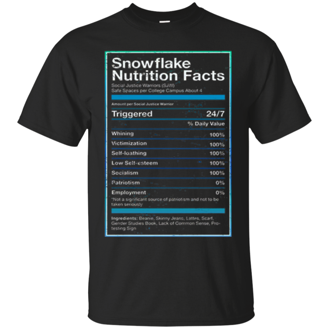 Snowflake Nutrition Facts T Shirt Funny Political T Shirts