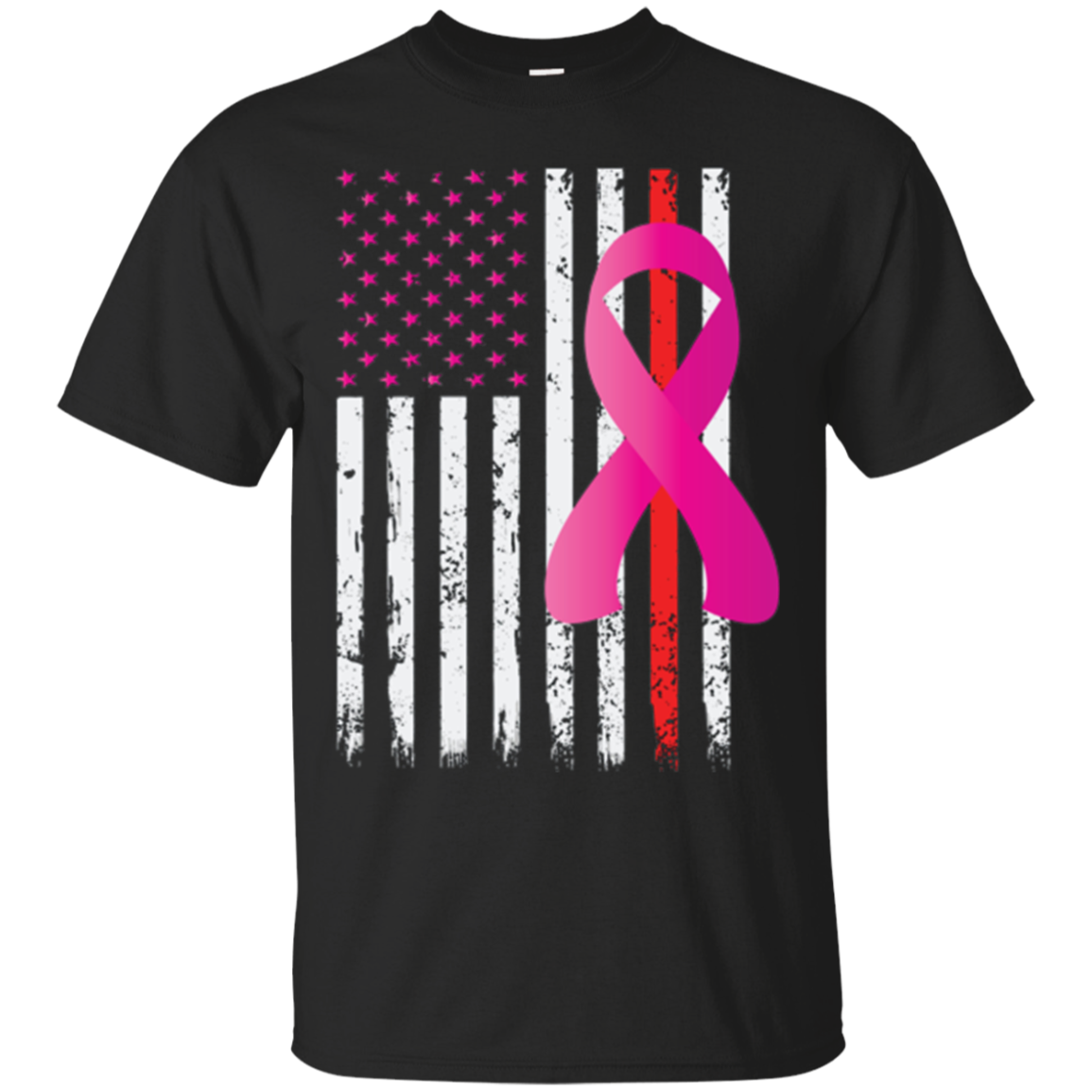 Breast Cancer Awareness Thin Red Line Firefighter Flag shirt