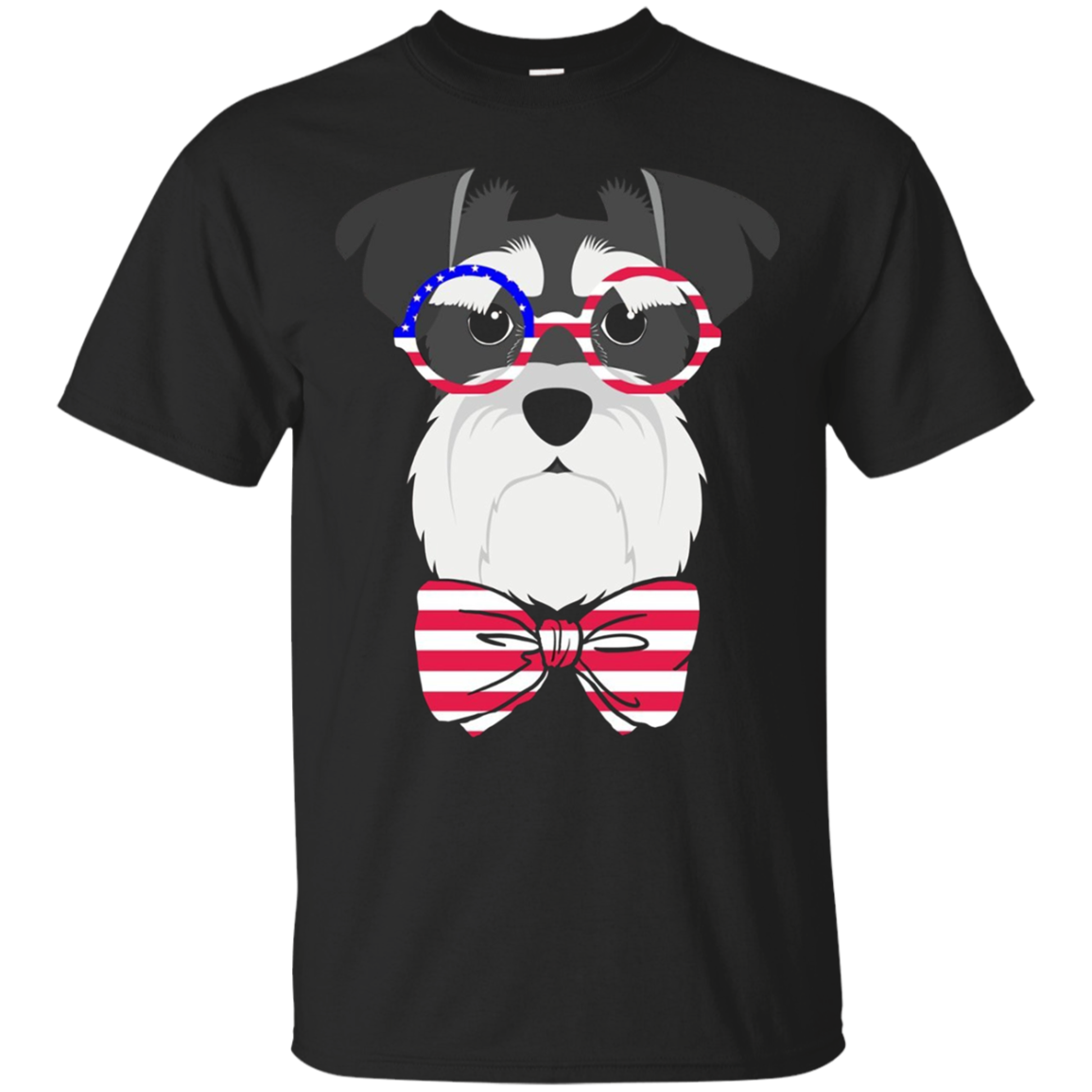 The 4th of July Patriotic Schnauzer with Bow-Tie  T-Shirt