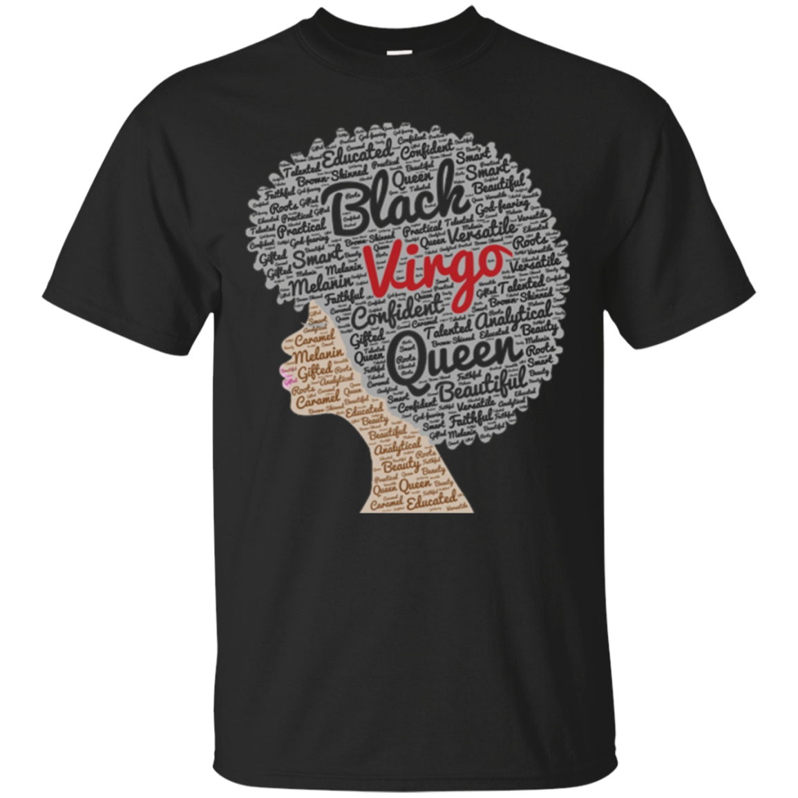 Virgo Zodiac Birthday Afro T-Shirt for Black Women