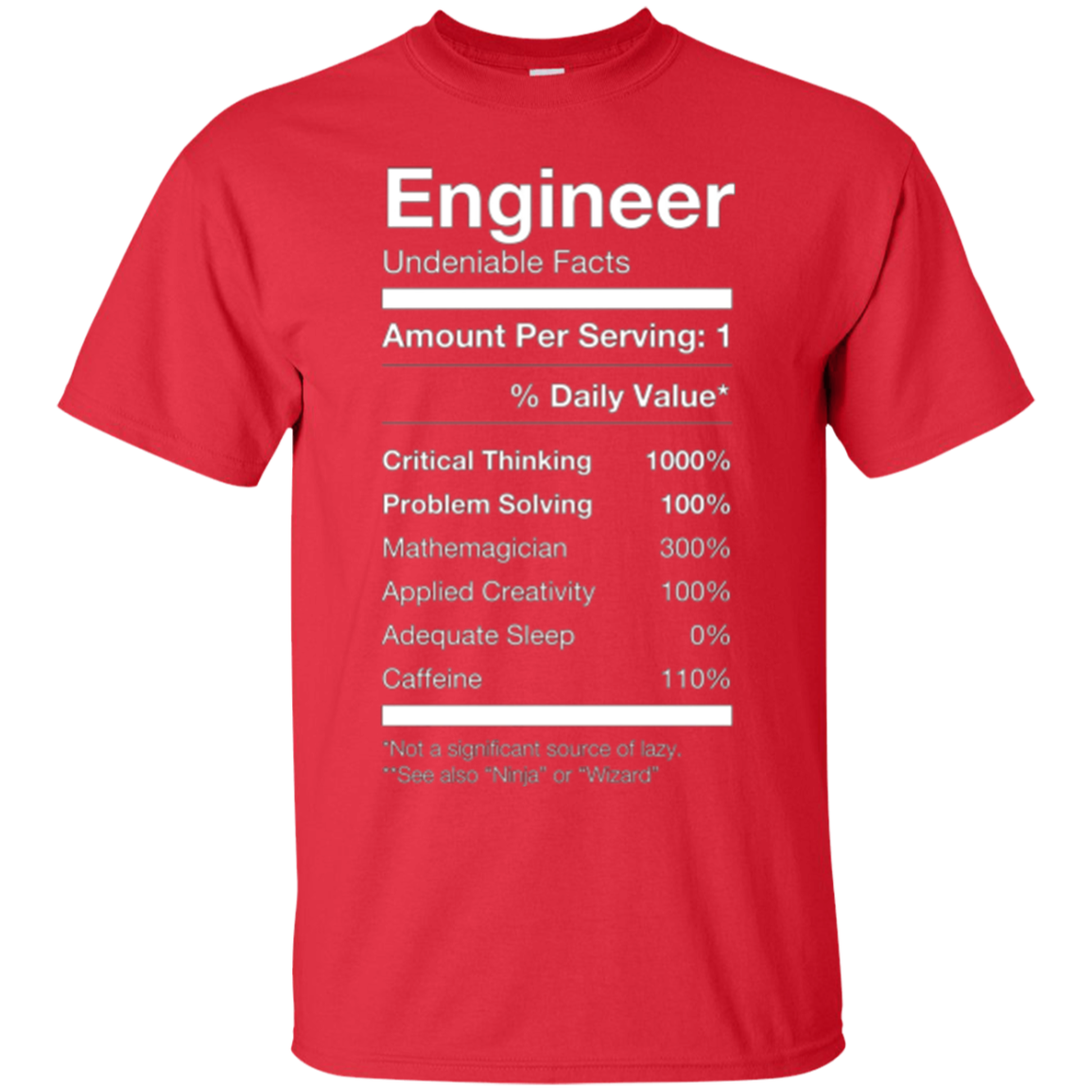 eecfc336 Engineer Nutritional Facts Label Shirt, Funny Cute Gag Gift – BiliTee