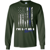 Image of Always Thin Blue Line Heart US Flag I've Got His Six T-shirt