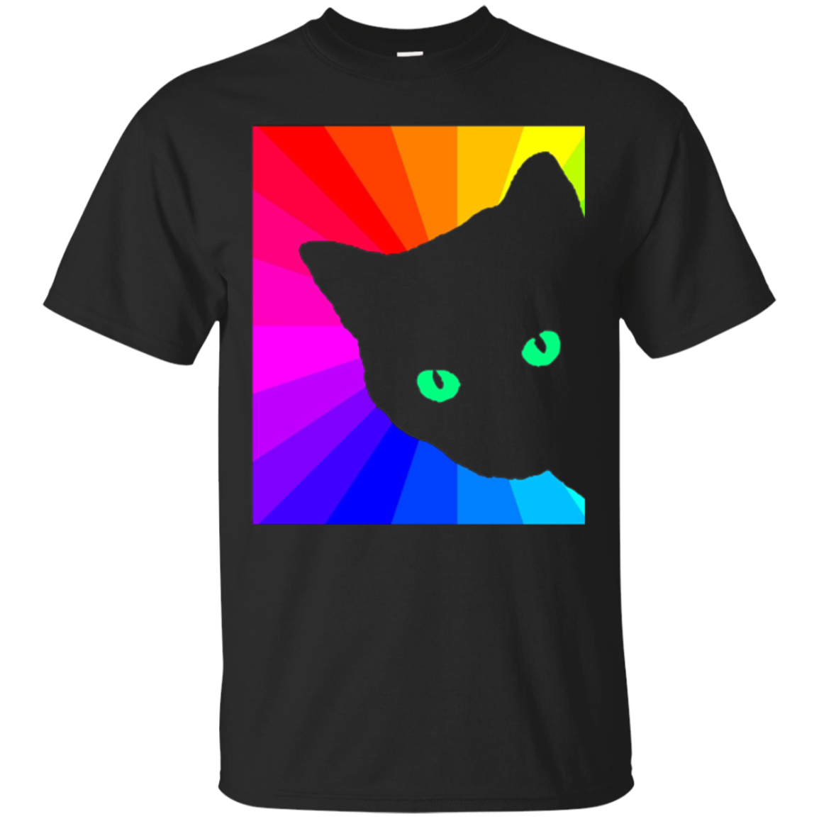 Black Cat Bright Color Prism Neon Eyes - Cat Lover T Shirt