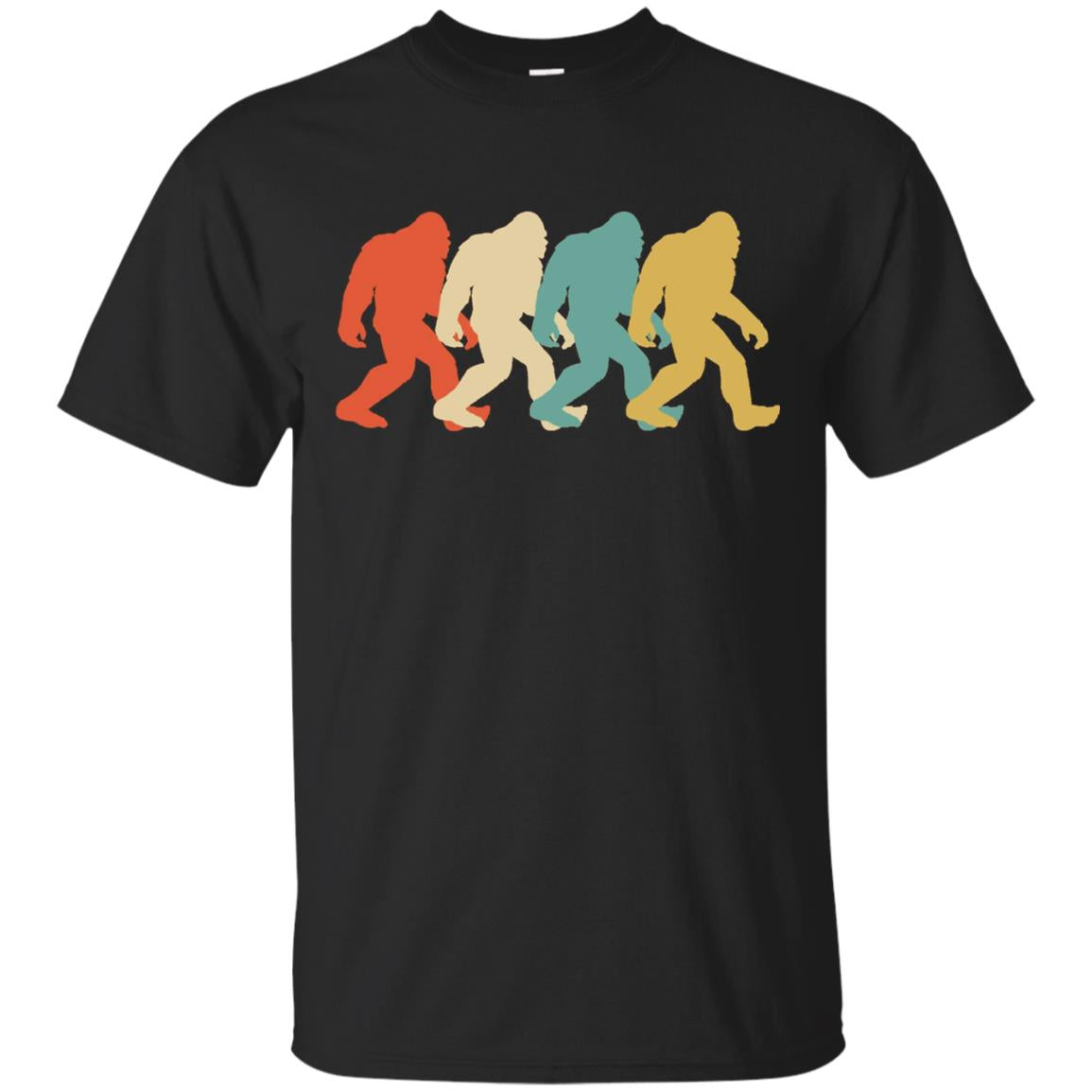 Bigfoot Silhouette Retro Pop Art Sasquatch Graphic T-Shirt