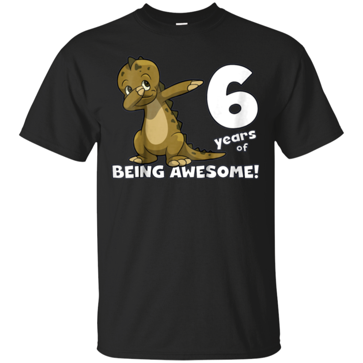 Kids Awesome 6 Year Old Birthday Shirt, Dabbing Dinosaur Shirt