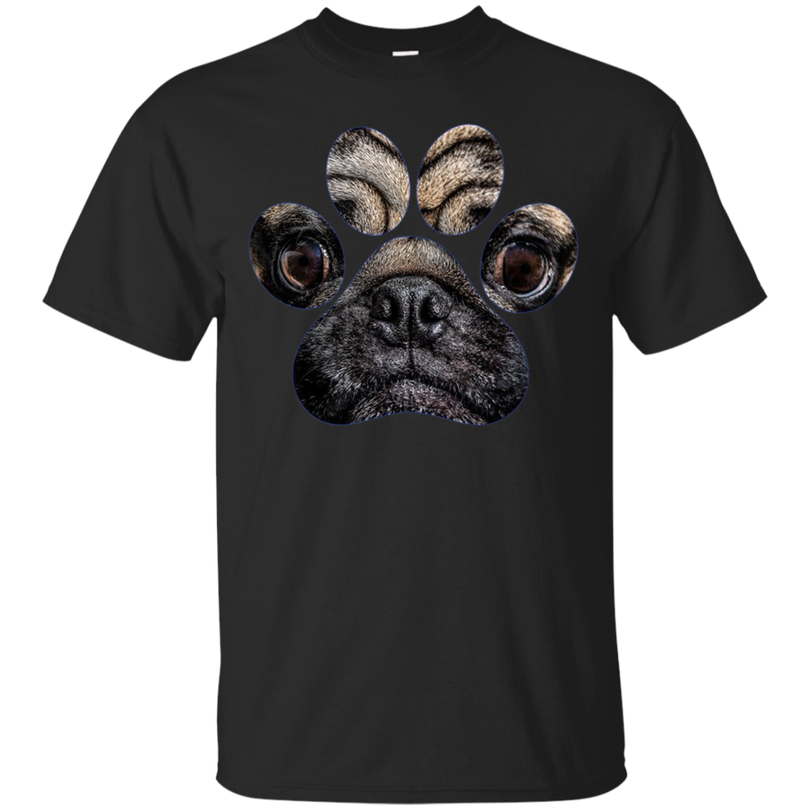 Funny Pug Face Paw Print Long Sleeve Cute Dog Mom Dad Gift