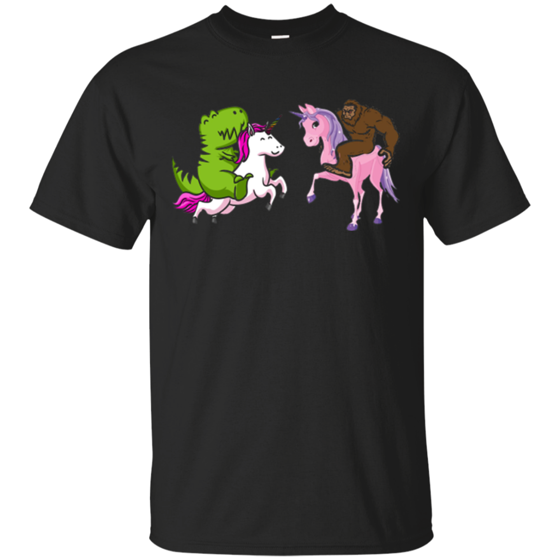 Dinosaur Riding Unicorn vs Bigfoot Riding Unicorn T-Shirt