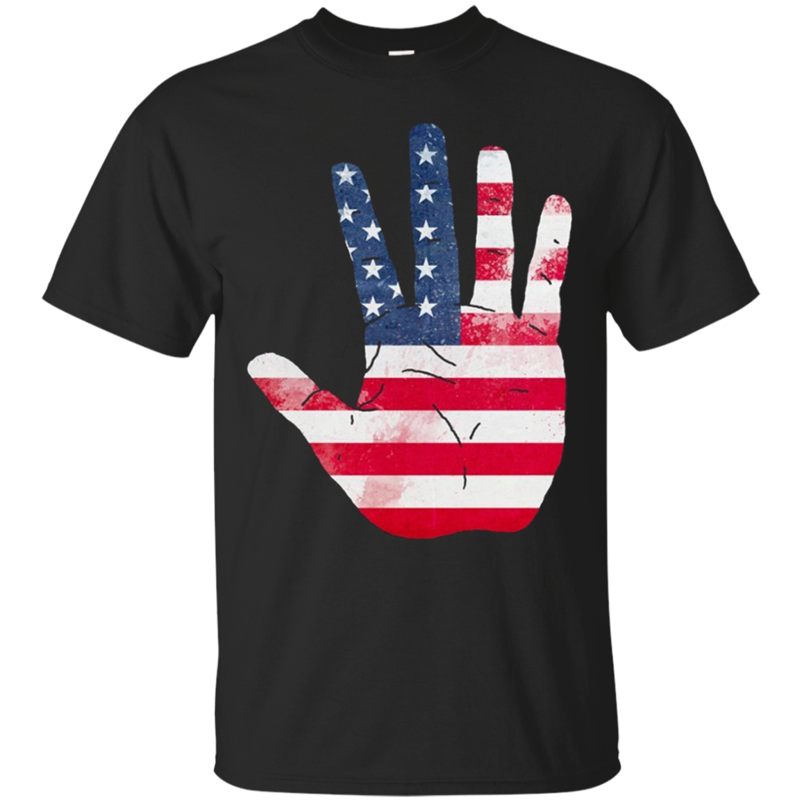 American Flag Waving Hand Hi Five Patriotic Gift Long Sleeve