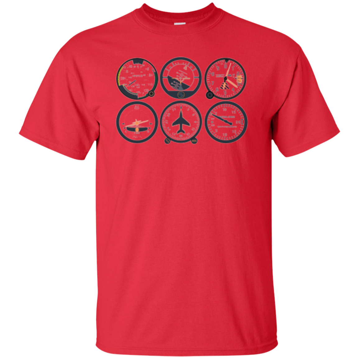 Pilot's Six Pack | Basic Six Flight Instruments Aviation Tee