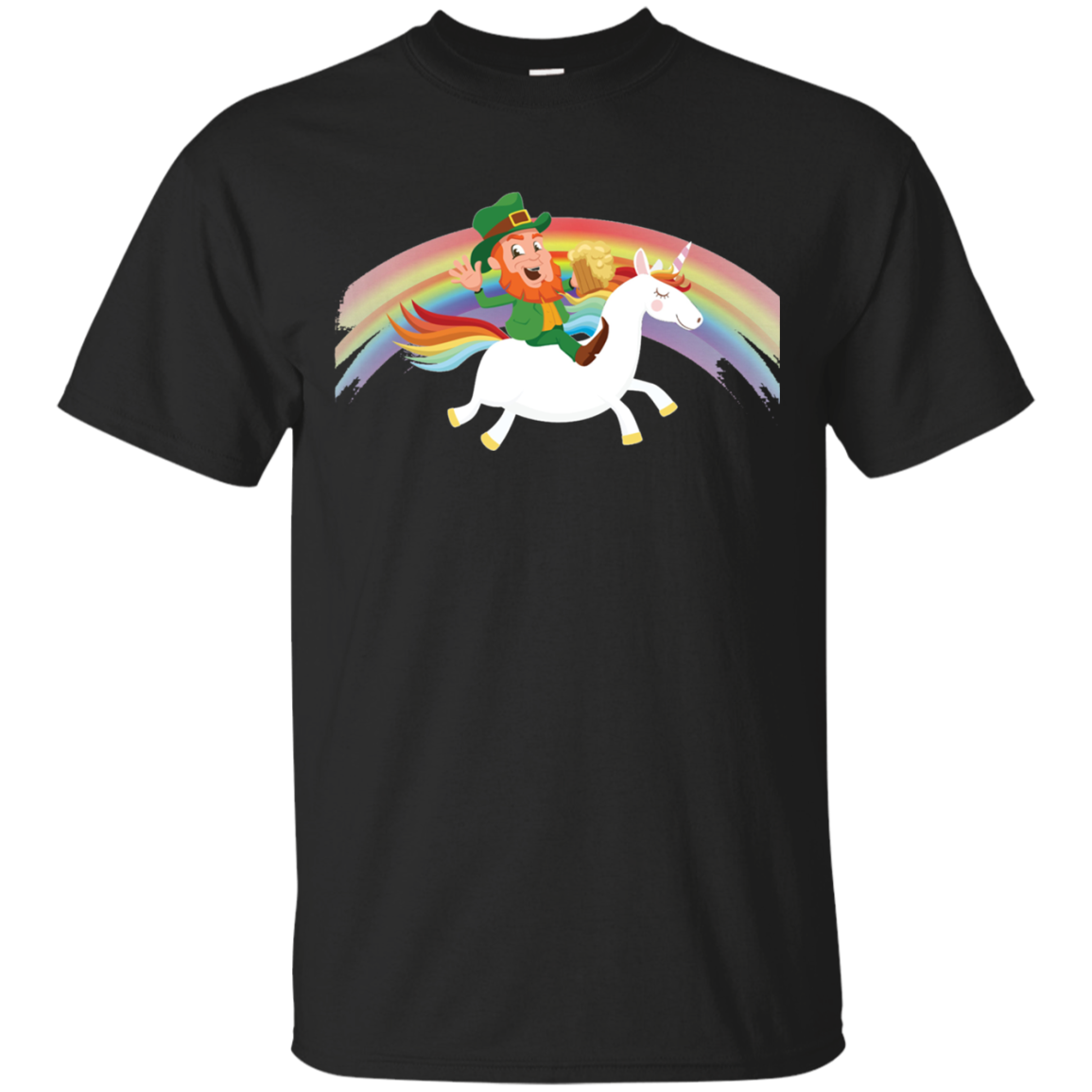 Leprechaun Riding a Unicorn rainbow St Patricks Day T Shirt