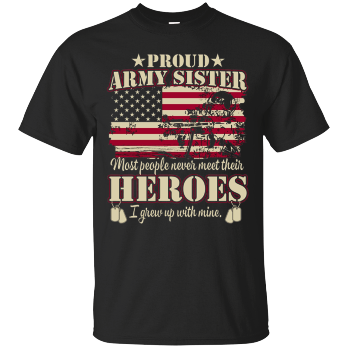 Proud US',Army Soldier',Military,Flag,Sister,T-shirt