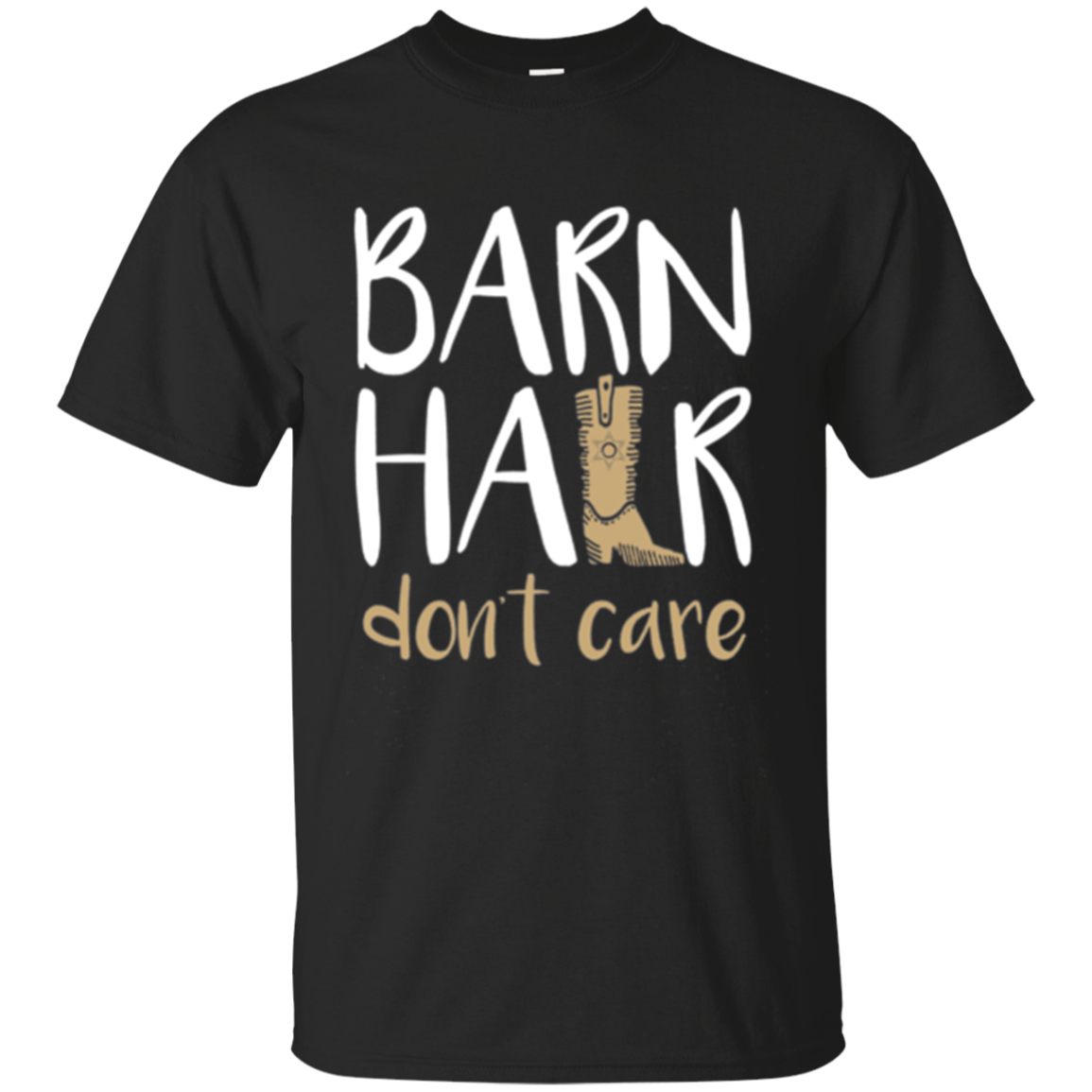 Barn Hair Don't Care Horses Farming Cowgirl Boots LS Shirt