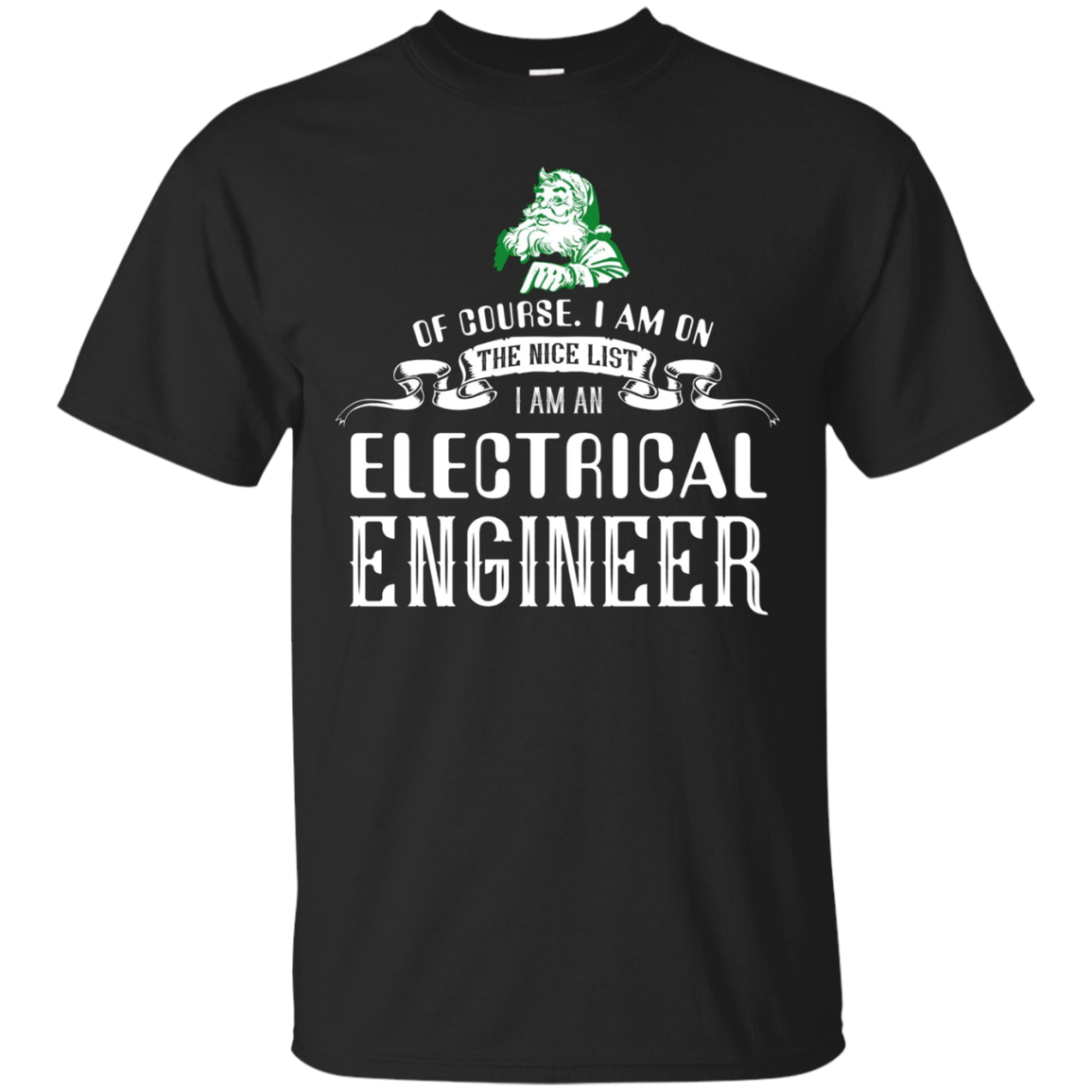 Santa Electrical Engineer Funny Tshirt on Christmas Holiday