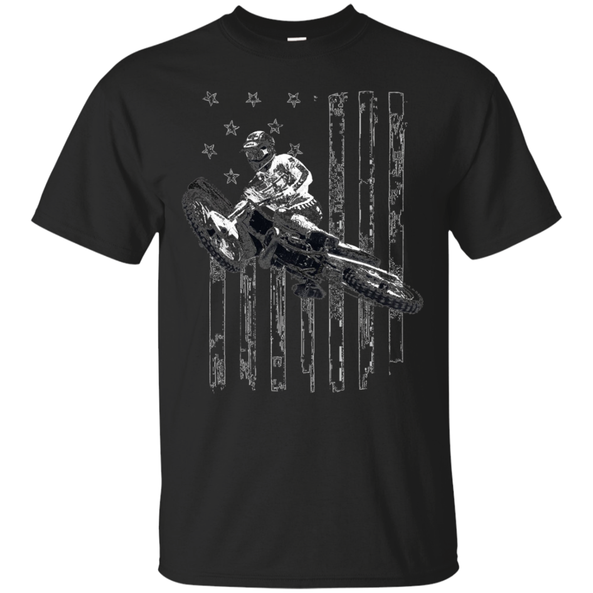 American Flag Motocross Dirt Bike Graphic T-shirt