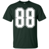 Image of #88 White Outline Number 88 Sports Fan Jersey Style T-Shirt