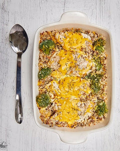 Baked Cheesy Chicken & Broccoli Wild Rice Blend Casserole-- By The Kitchen Whisperer