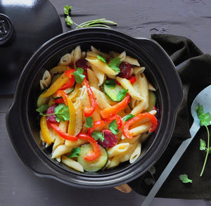 One Pot Pasta with Peppers, Zucchini, & Chorizo