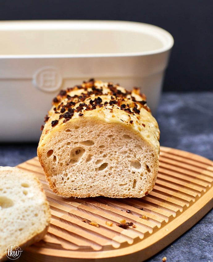 The Easiest & Tastiest No Knead Onion Bread Loaf-- By The Kitchen Whisperer
