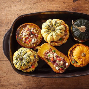 Stuffed Squash with Wild Rice & Feta Cheese