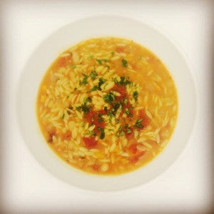 Tomato,  White Bean,  and Orzo Soup