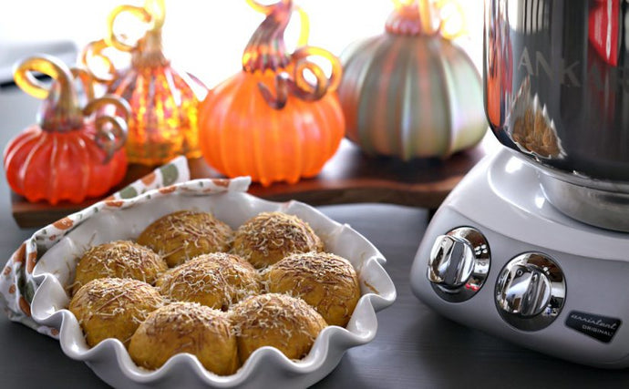 Sage and Orange Pumpkin Rolls by Ankarsrum Original USA