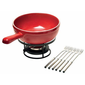 Emile Henry Fondue Set Color: Burgundy