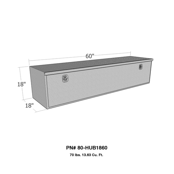 Brute HD Under Body Tool Box; Polished Aluminum; 18 in. x 60 in. Drop Down Door;