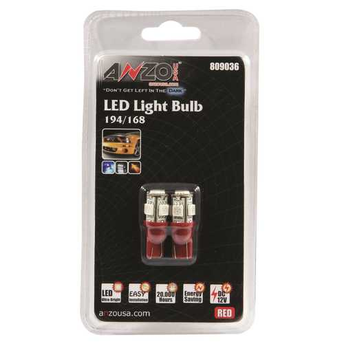 LED Replacement Bulb; 194/168; 5 LEDs; Red;