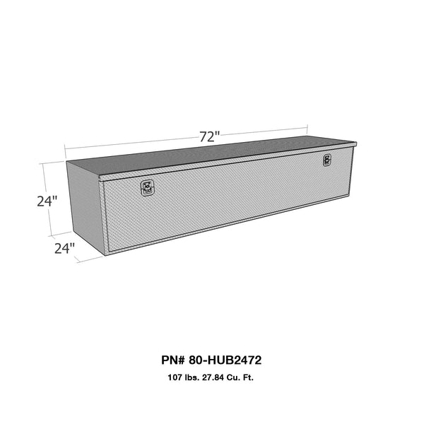 Brute HD Under Body Tool Box; Polished Aluminum; 24 in. x 72 in. Drop Down Door;