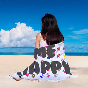 "Custom Round Beach Blanket ""Dogs Make Me Happy"""