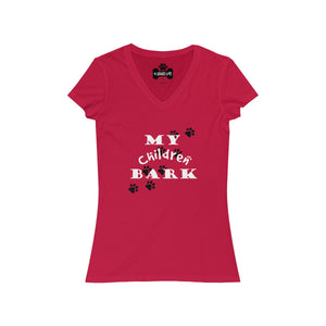 My Children Bark Women's  V-Neck Tee