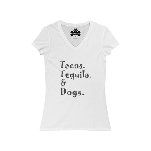 Tacos Tequila and Dogs Women's V-Neck Tee