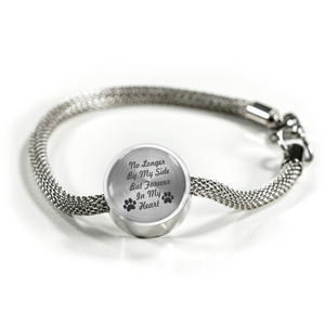 "Custom Engraved Silver Bracelt ""Noonger By My Side But Forever In My Heart"""