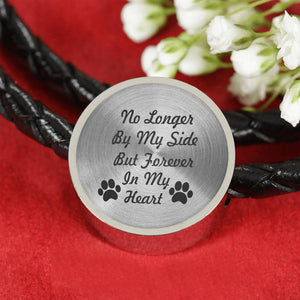 "Custom Circle Charm Leather Bracelet ""No Longer By My Side But Forever In My Heart"""