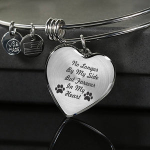 "Custom Heart Silver or Gold Charm Bracelet ""No Longer By My Side But Forever In My Heart"""
