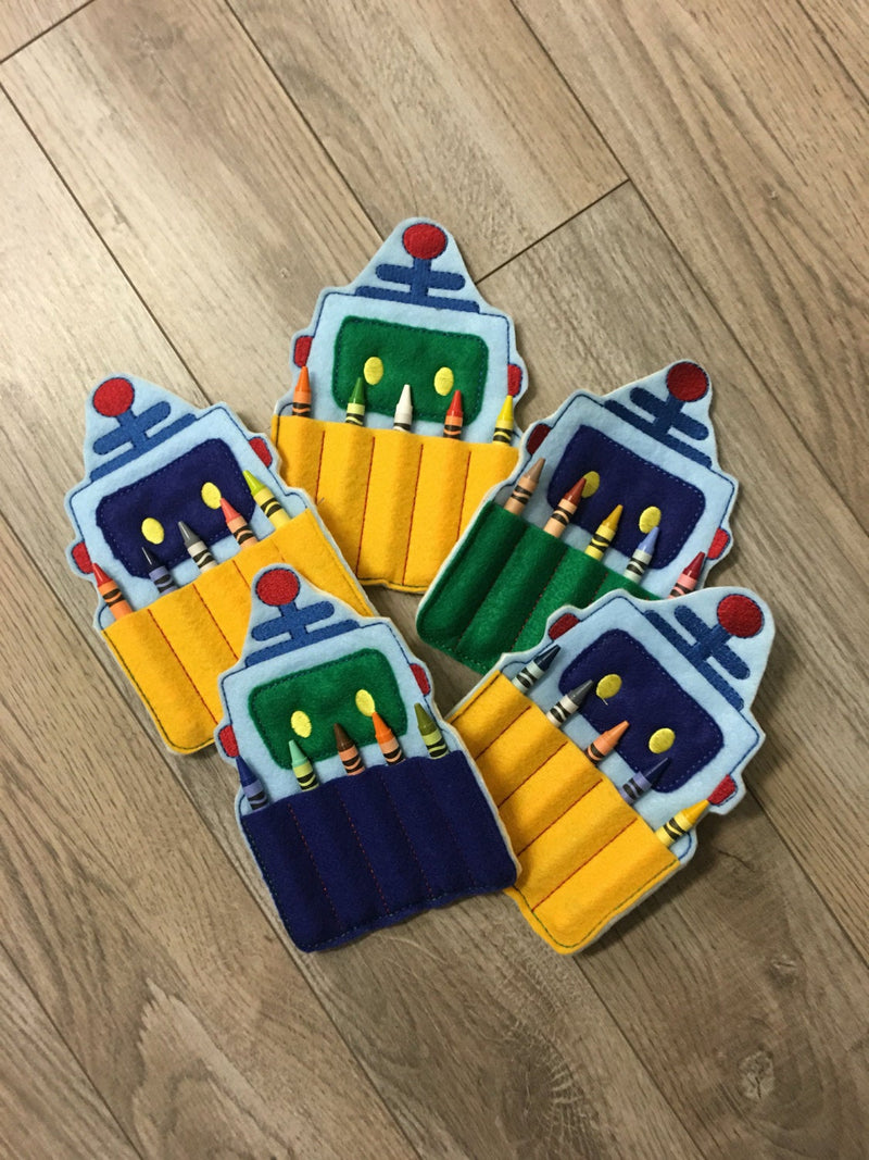 Robot Birthday Crayon Holders - 805-masks