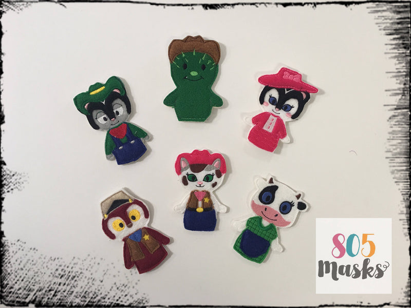 Sheriff Callie Inspired Felt Finger Puppets - 805-masks