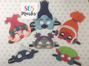 Trolls Inspired Masks Troll Mask Trolls Branch Mask Poppy Mask Halloween Trolls birthday Birthday Trolls party dress up Troll Party Favor - 805-masks