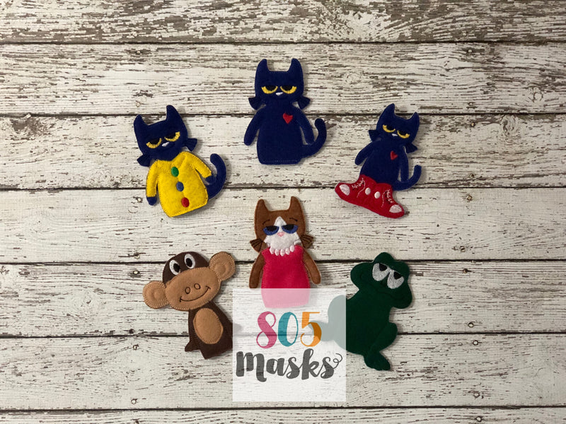 Pete the Cat Inspired Felt Finger Puppets - 805-masks