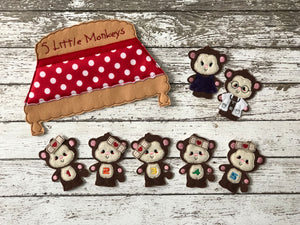 5 Little Monkeys Felt Finger Puppets - 805 Masks
