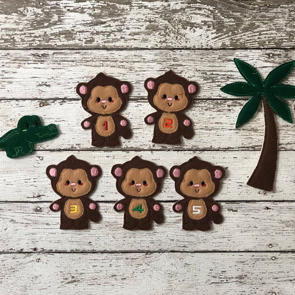 5 Little Monkeys Felt Finger Puppets - 805-masks