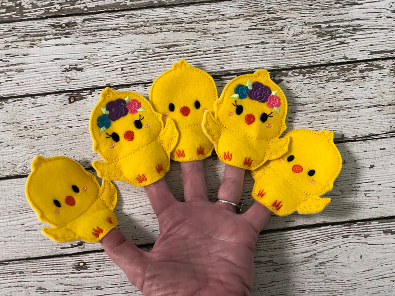 5 Little Chicks Felt Finger Puppets - 805-masks