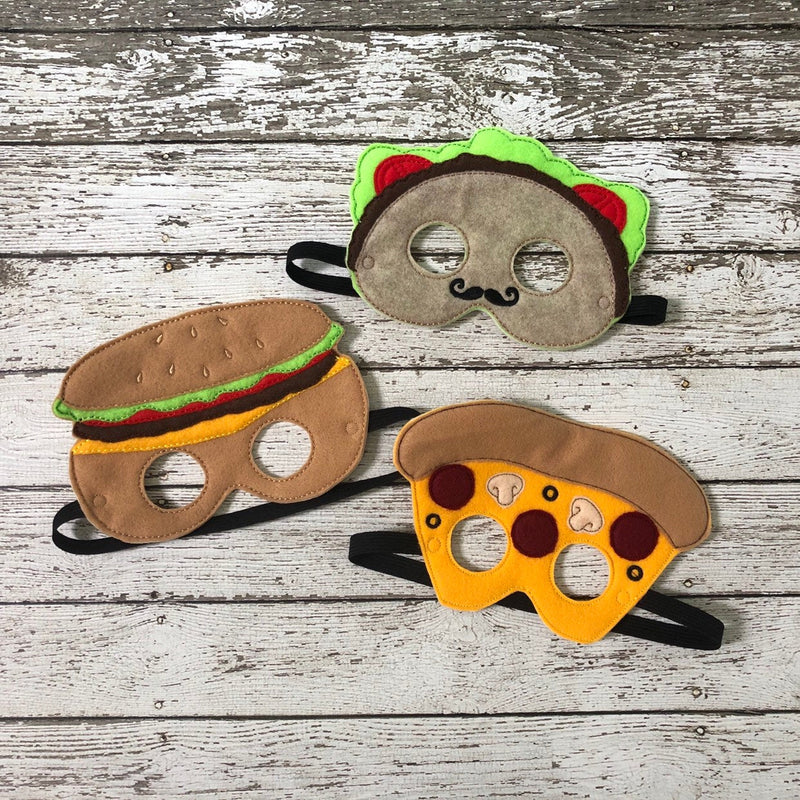 Taco Felt Mask Hamburger Felt Mask Pizza Felt Mask - 805 Masks