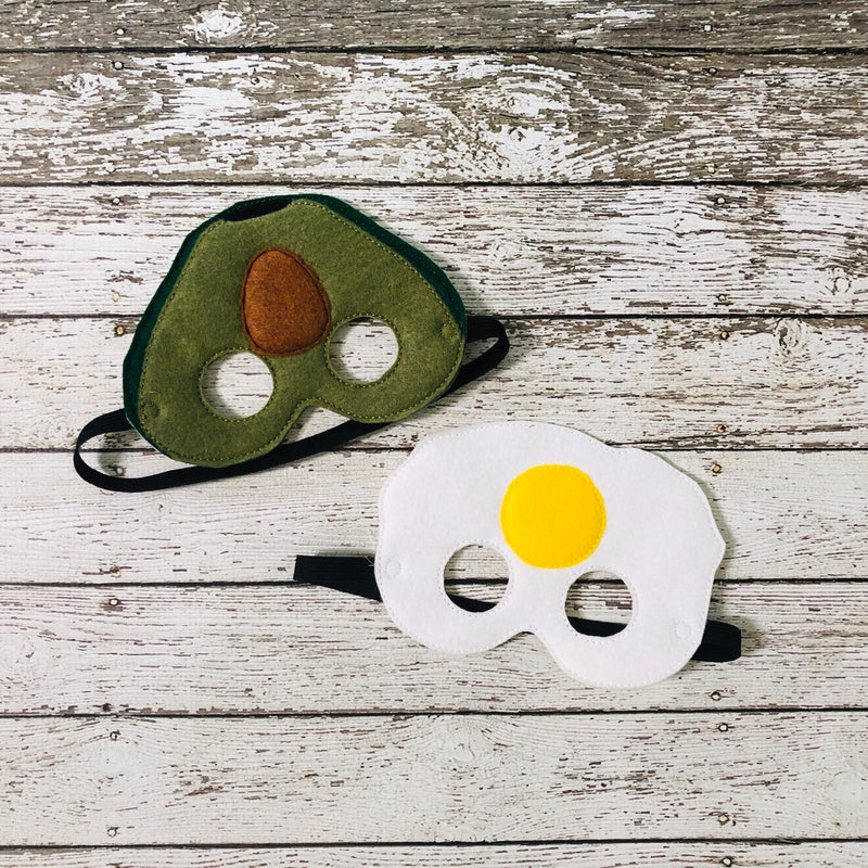 Avocado Felt Mask Fried Egg Felt Mask - 805 Masks