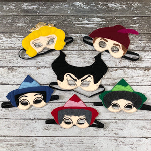 Sleeping Beauty Inspired Mask Aurora Mask Princess Mask Prince Phillip Mask Maleficent Mask Flora Mask Fauna Mask Merryweather Party Favor - 805 Masks