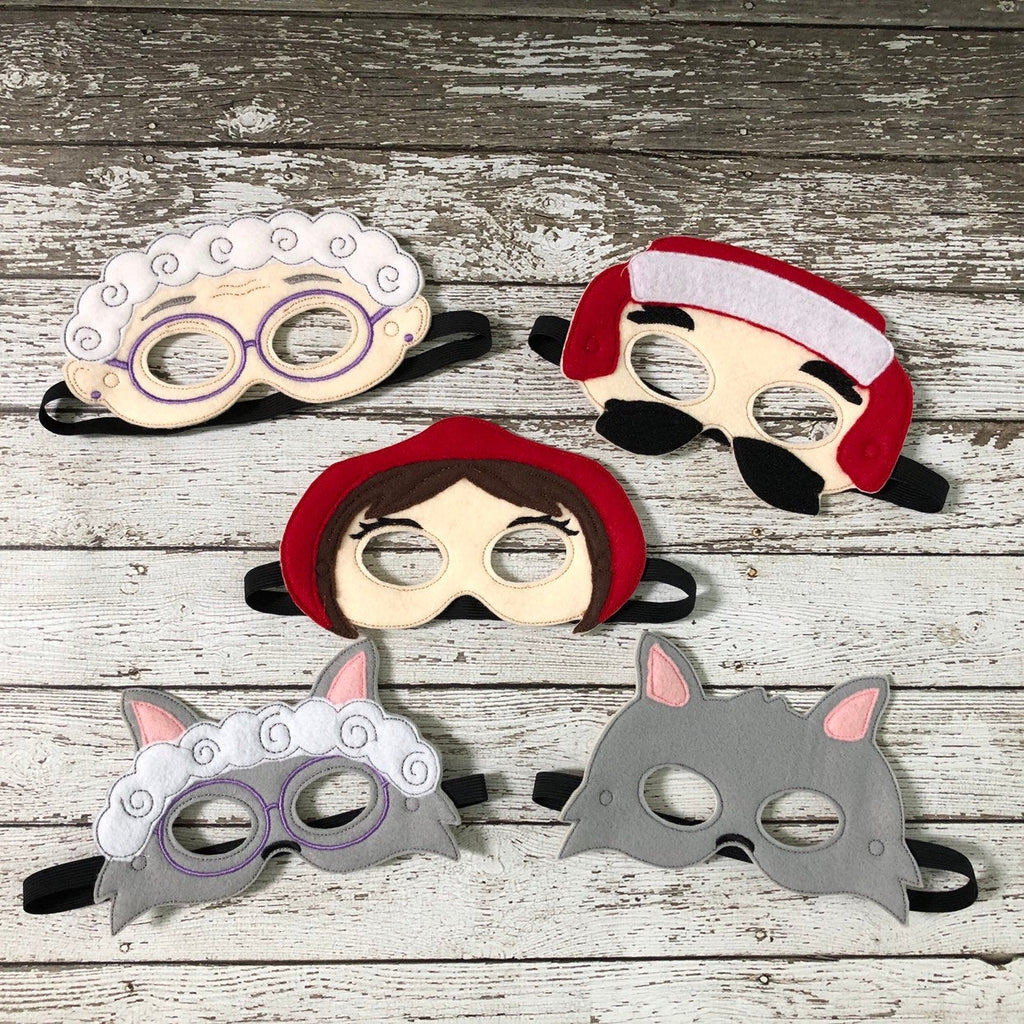 Little Red Riding Hood Masks Little Red Mask Big Bad Wolf Mask Granny Mask Granny Wolf Lumberjack Mask Woodsman Mask Book Character Costumes - 805 Masks