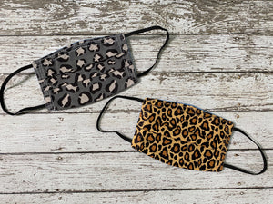Adult Face Mask with Filter Pocket - Leopard