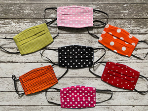 Adult Face Mask with Filter Pocket - Polka Dots