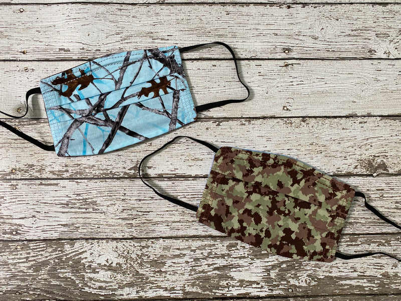 Adult Face Mask with Filter Pocket - Camo